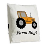 Farm Boy Orange Tractor Burlap Throw Pillow
