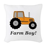Farm Boy Orange Tractor Woven Throw Pillow