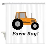 Farm Boy Orange Tractor Shower Curtain