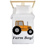 Farm Boy Orange Tractor Twin Duvet