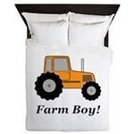Farm Boy Orange Tractor Queen Duvet