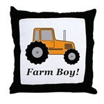 Farm Boy Orange Tractor Throw Pillow
