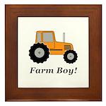 Farm Boy Orange Tractor Framed Tile