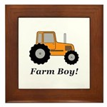 Farm Boy Orange Tractor Framed Tile