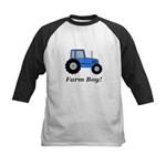 Farm Boy Blue Tractor Kids Baseball Jersey
