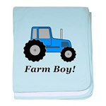 Farm Boy Blue Tractor baby blanket