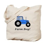 Farm Boy Blue Tractor Tote Bag