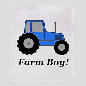 Farm Boy Blue Tractor Throw Blanket