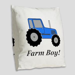 Farm Boy Blue Tractor Burlap Throw Pillow