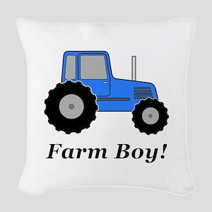 Farm Boy Blue Tractor Woven Throw Pillow