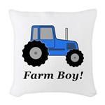 Farm Boy Blue Tractor Woven Throw Pillow