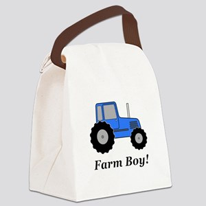 Farm Boy Blue Tractor Canvas Lunch Bag