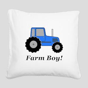 Farm Boy Blue Tractor Square Canvas Pillow