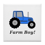 Farm Boy Blue Tractor Tile Coaster