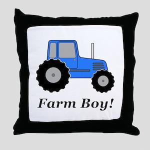 Farm Boy Blue Tractor Throw Pillow