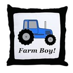 Farm Boy Blue Tractor Throw Pillow