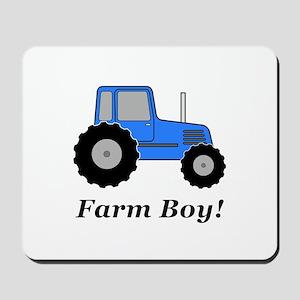 Farm Boy Blue Tractor Mousepad