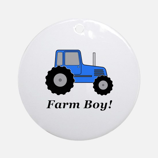 Farm Boy Blue Tractor Round Ornament