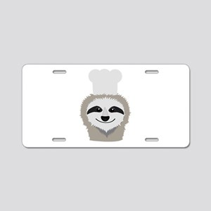 sloth chef with cook hat Aluminum License Plate