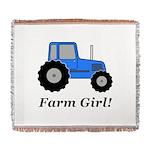 Farm Girl Tractor Woven Blanket