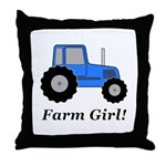 Farm Girl Tractor Throw Pillow