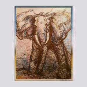 Elephant, wildlife art Throw Blanket