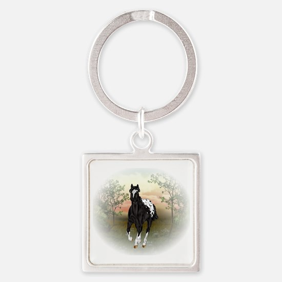 Unique Black horse Square Keychain