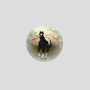 Running Black Appaloosa Horse Mini Button