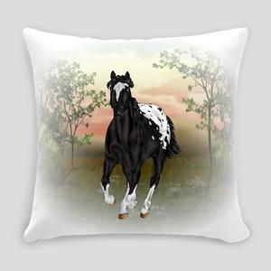 Running Black Appaloosa Horse Everyday Pillow