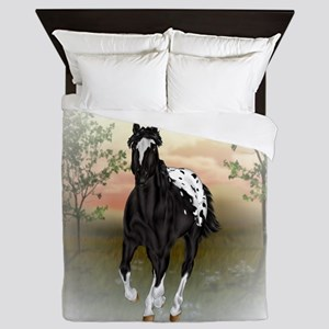 Running Black Appaloosa Horse Queen Duvet