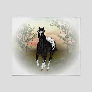 Running Black Appaloosa Horse Throw Blanket