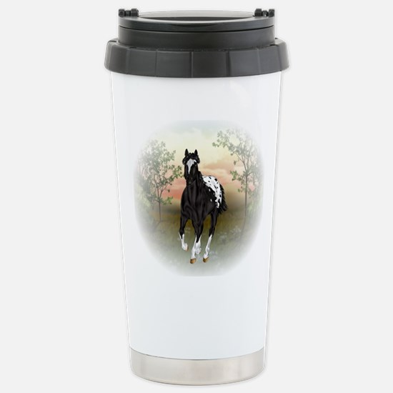 Running Black Appaloosa Horse Travel Mug