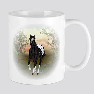 Running Black Appaloosa Horse Mugs