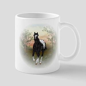Running Black Appaloosa Horse Mugs