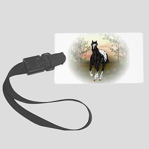 Running Black Appaloosa Horse Luggage Tag