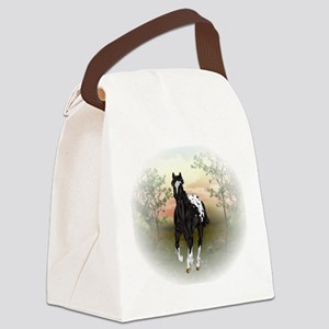 Running Black Appaloosa Horse Canvas Lunch Bag