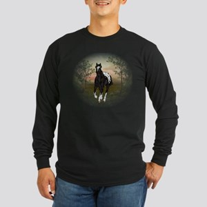 Running Black Appaloosa Horse Long Sleeve T-Shirt