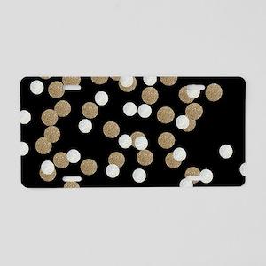 chic glitter gold confetti Aluminum License Plate