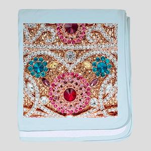 bohemian turquoise red rhinestone baby blanket