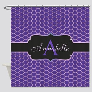 Purple Mermaid Scale Monogram Shower Curtain
