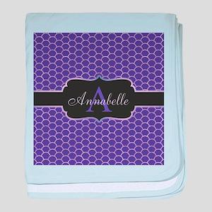 Purple Mermaid Scale Monogram baby blanket