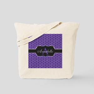 Purple Mermaid Scale Monogram Tote Bag