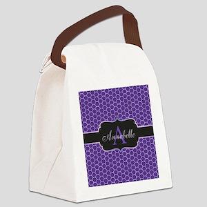 Purple Mermaid Scale Monogram Canvas Lunch Bag