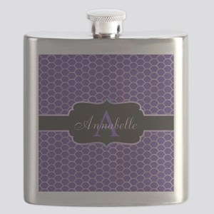 Purple Mermaid Scale Monogram Flask
