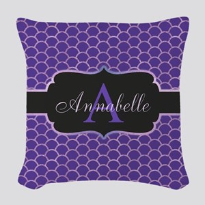 Purple Mermaid Scale Monogram Woven Throw Pillow
