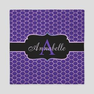 Purple Mermaid Scale Monogram Queen Duvet