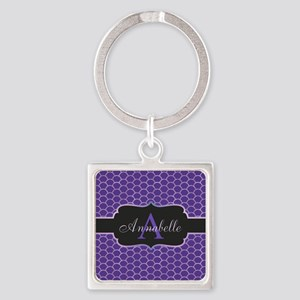 Purple Mermaid Scale Monogram Keychains