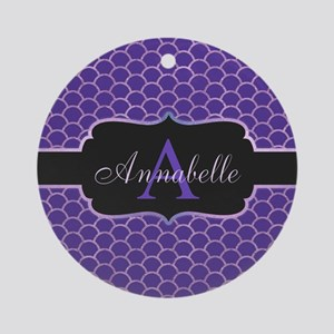 Purple Mermaid Scale Monogram Round Ornament