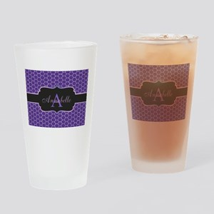 Purple Mermaid Scale Monogram Drinking Glass