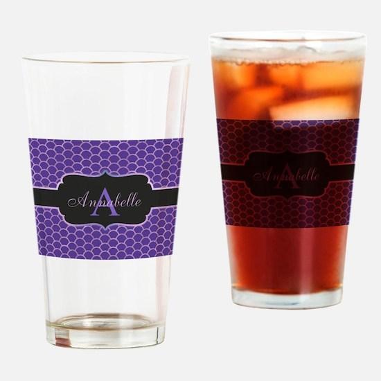 Purple Mermaid Scale Monogram Drinking Glass